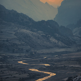 Marsyangdi river and Bragha village from the Manang (3,540 m) by Anton Jankovoy (jankovoy)) on 500px.com