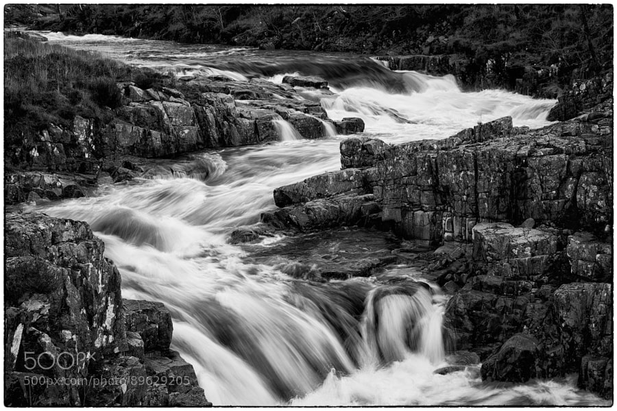 River Etive Rapids after days of heavy rains.