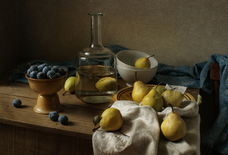Photograph Still life with Decanter, pears and plums by Elena Kolesneva on 500px