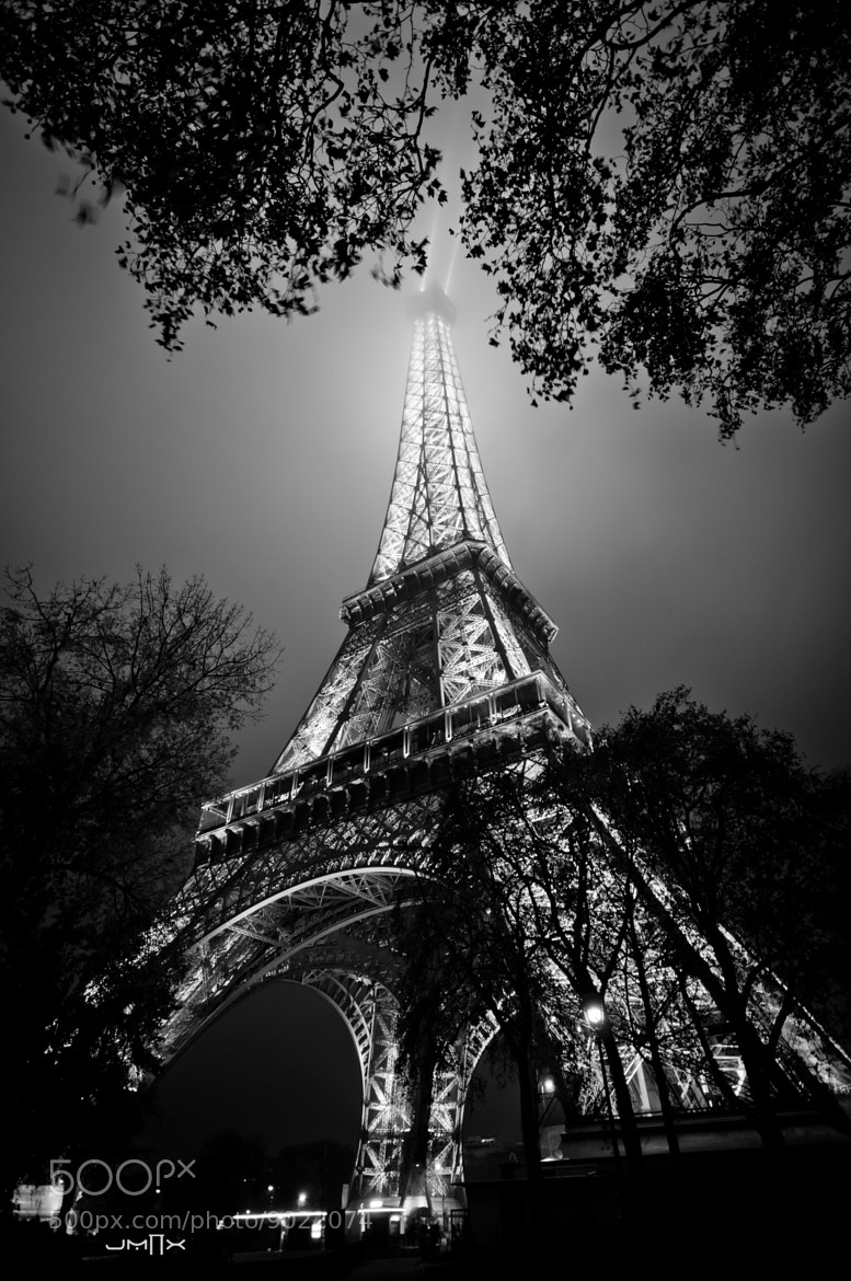 Photograph Eiffel behind trees (lighthouse B&W) by Julien Malrieu on 500px