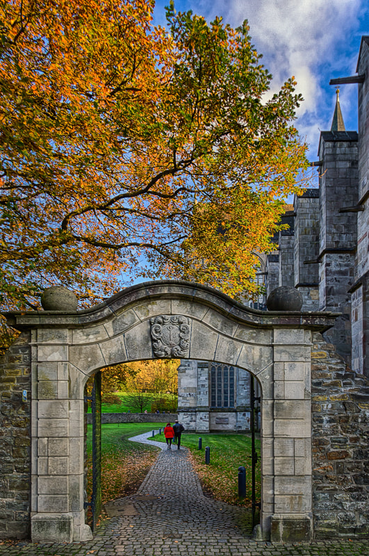Looking through the gate to the Altenberg Cathedral