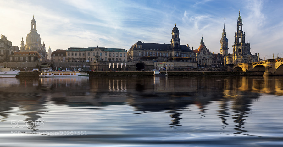 Dresden mirrored in Elbe river