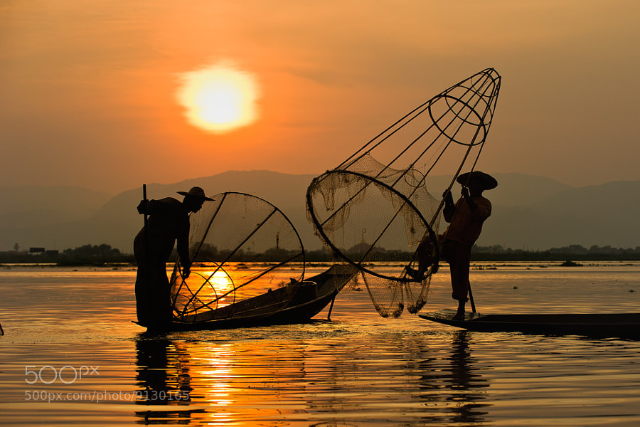 Sunset Inle lake