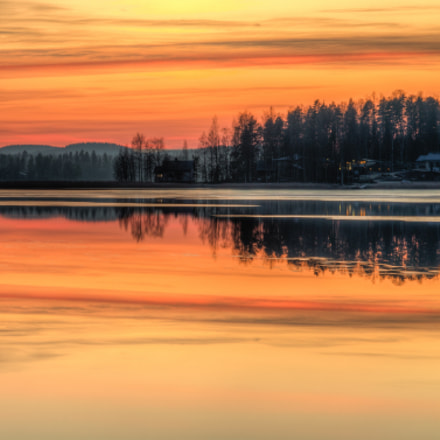 Sunset landscape scenery in Finland during winter time. (5 photo HDR)