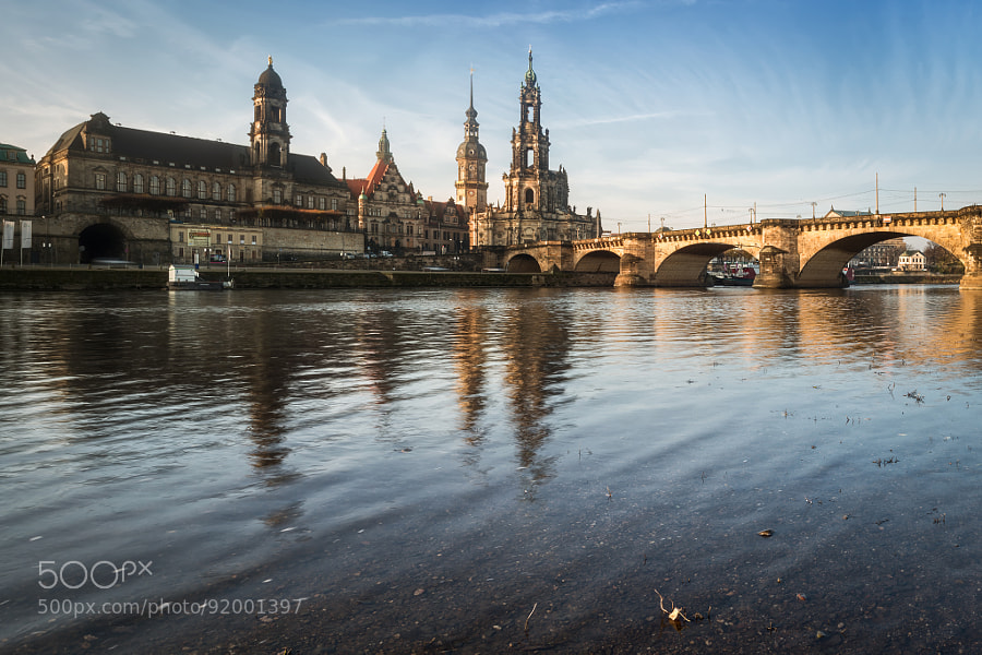 The historical city of Dresden in morning sun