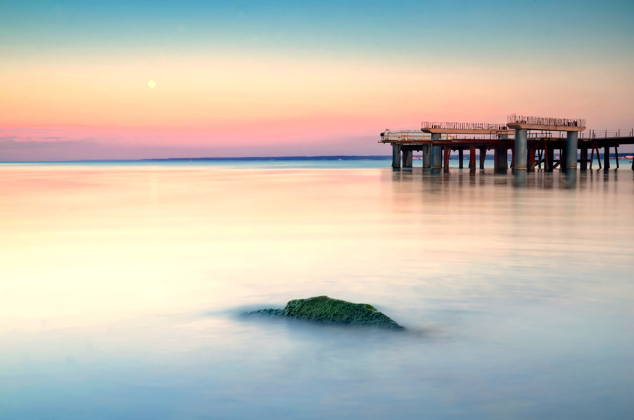 Photograph full moon and a pier by Andrzej Pradzynski on 500px