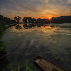 Постер, плакат: Sunrise at the reservoir Ban Gok Ji