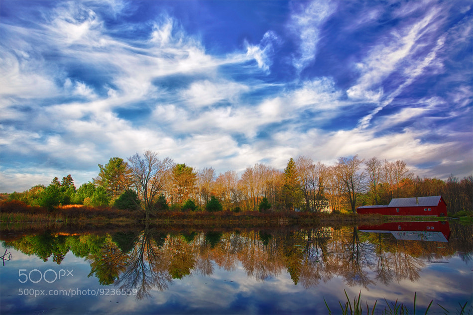 Photograph Pennsylvania, Farmland, Pond, Mill, Fall Colors, Reflection, HDR by ya zhang on 500px