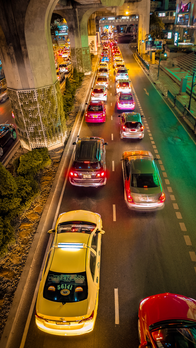 Photograph Night Traffic on Thanon Phloen Chit by Olivier Shaw on 500px