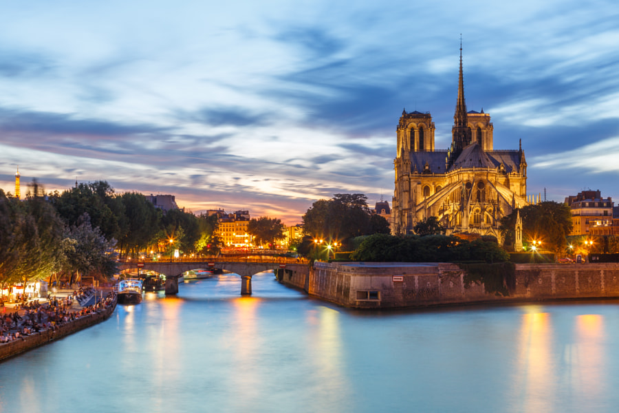 Notre Dame de Paris and Seine River at Dusk