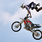 Постер, плакат: Stunt motorcyclist at the Hop Farm in Kent