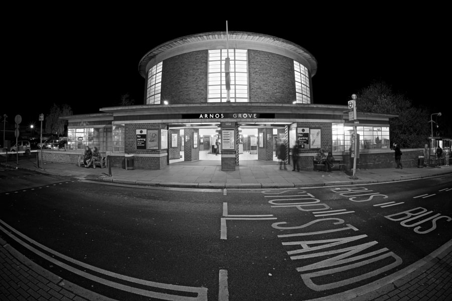 Arnos Grove is a London Underground station on the Piccadilly Line designed by Charles Holden.