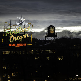 Portland oregon sign, tonight shot off the burnside bridge.