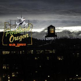 Portland oregon sign, tonight shot off the burnside bridge.