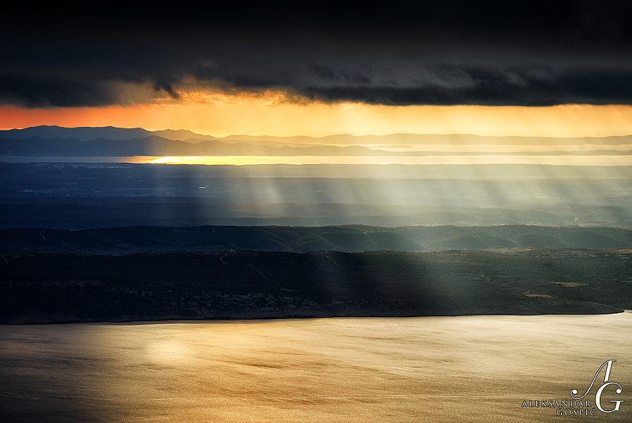Light show above Ravni Kotari and islands of Zadar archipelago from Velebit mountain, as an intro into worsening weather