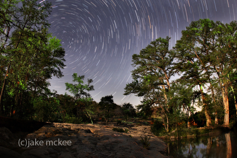 Photograph Star trails at Krause Springs by Jake  McKee on 500px