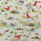 Постер, плакат: 2469 Cute Dinosaurs Fabric in Linen White Kawaii Animal Fabric Japanese Fabric Cosmo Textile