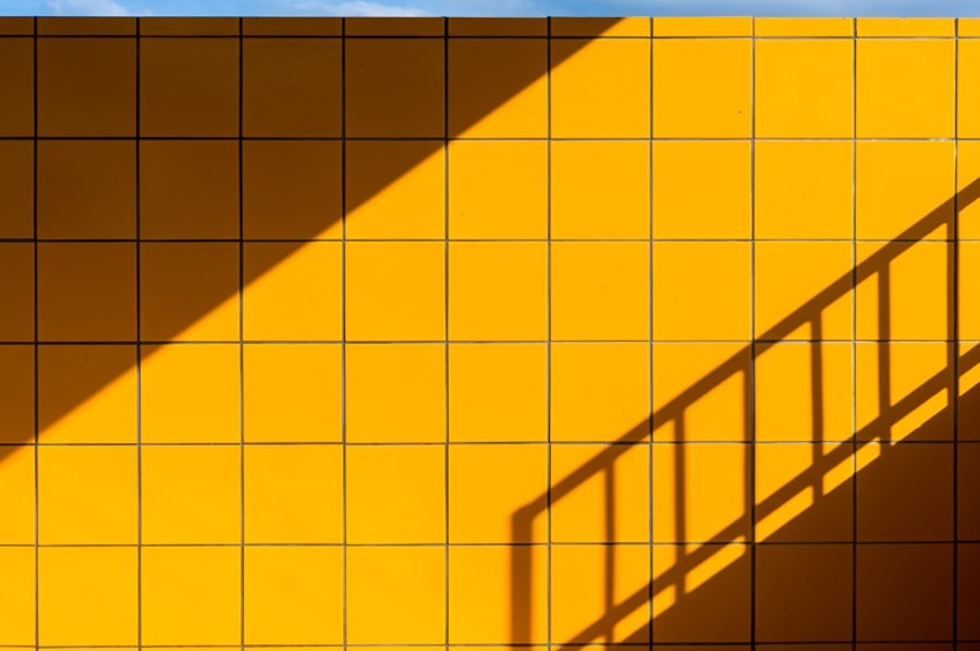 yellow tiles & blue line by Kimberly Poppe on 500px.com