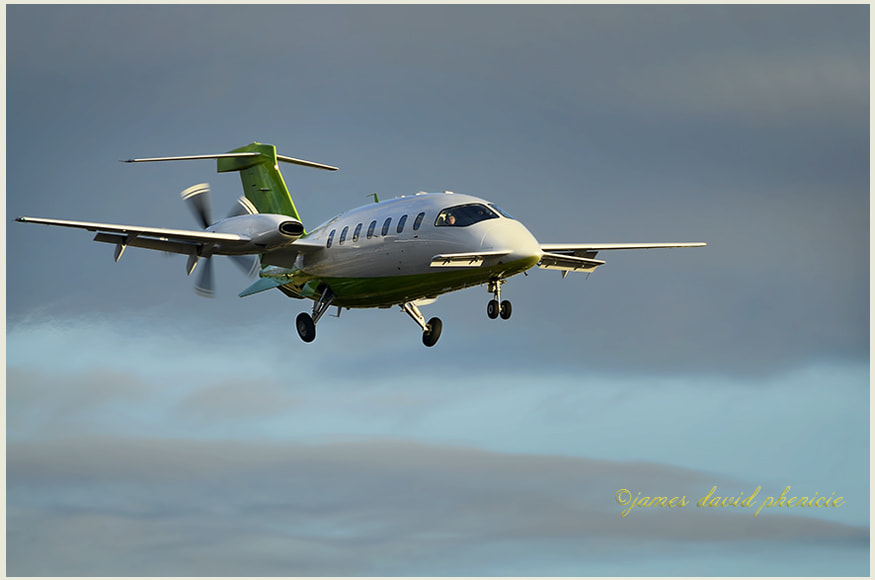 PIAGGIO P180 on short final to local airport.  Please don't use this image on websites, blogs or other media without my explicit permission. [NOTE:  Please click on image to view on black.]  ©2014James David Phenicie   All rights reserved.