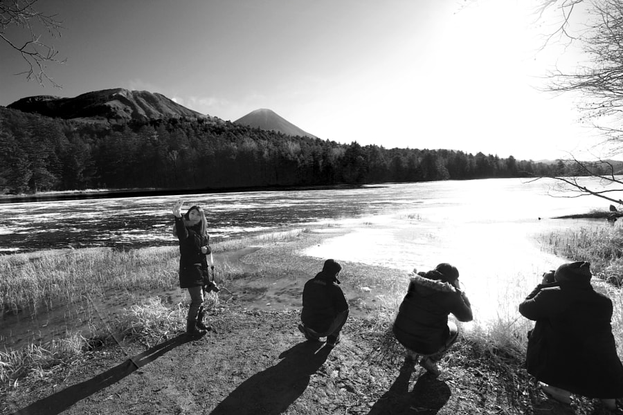Photographers in action at Lake Onneto