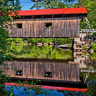 """This bridge was built in 1840. It was completely rebuilt in 1857 by Dutton Woods of Contocock, NH. In 1970 the state's Town Bridge Aid Program provided $16,300 for another rebuild. In 1987 it was """"rehabilitated"""" by the state one more time. Waterloo Bridge is listed on the National Register of Historic Places."""
