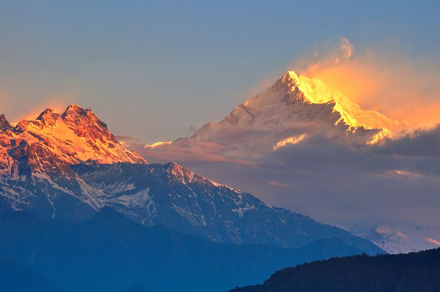 Kanchendzonga range of the himalayas at first light of sunrise by Nutthavood Punpeng on 500px.com