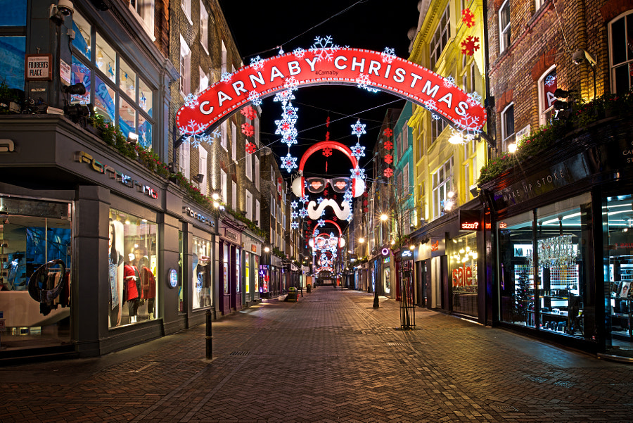Carnaby Street, London gets dressed up for Christmas.
