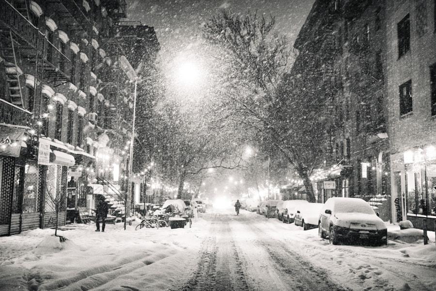 Photograph New York City - Snowy Night in the East Village by Vivienne Gucwa on 500px