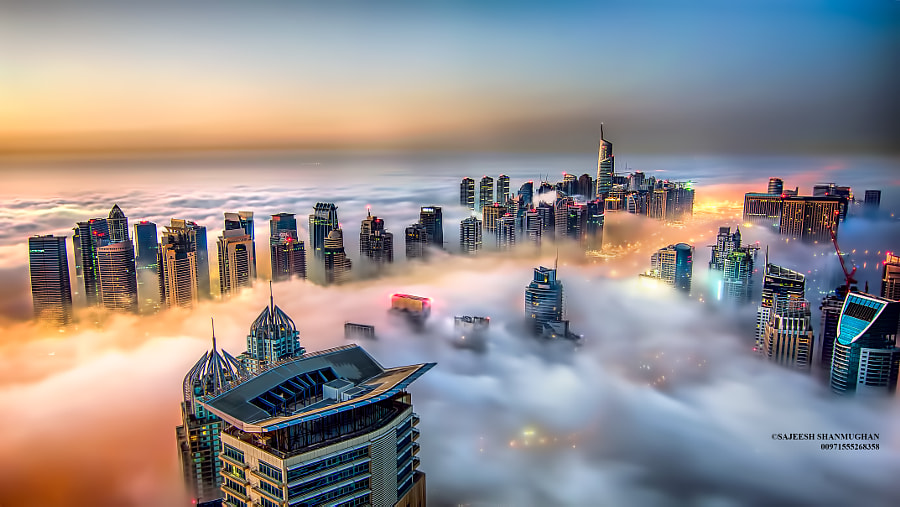 Photograph Foggy Dubai Marina by Sajeesh Shanmughan on 500px