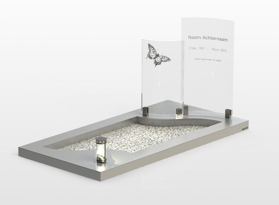 RVS monument Golfzerk met glas