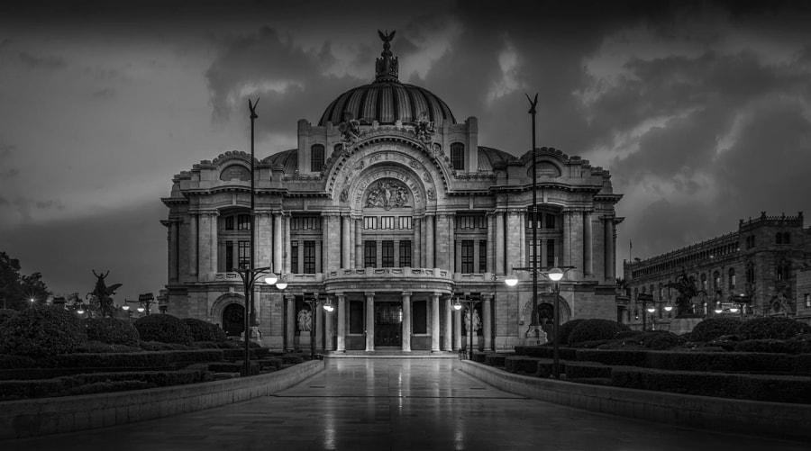 Palacio Bella Artes Mexico City Black and White