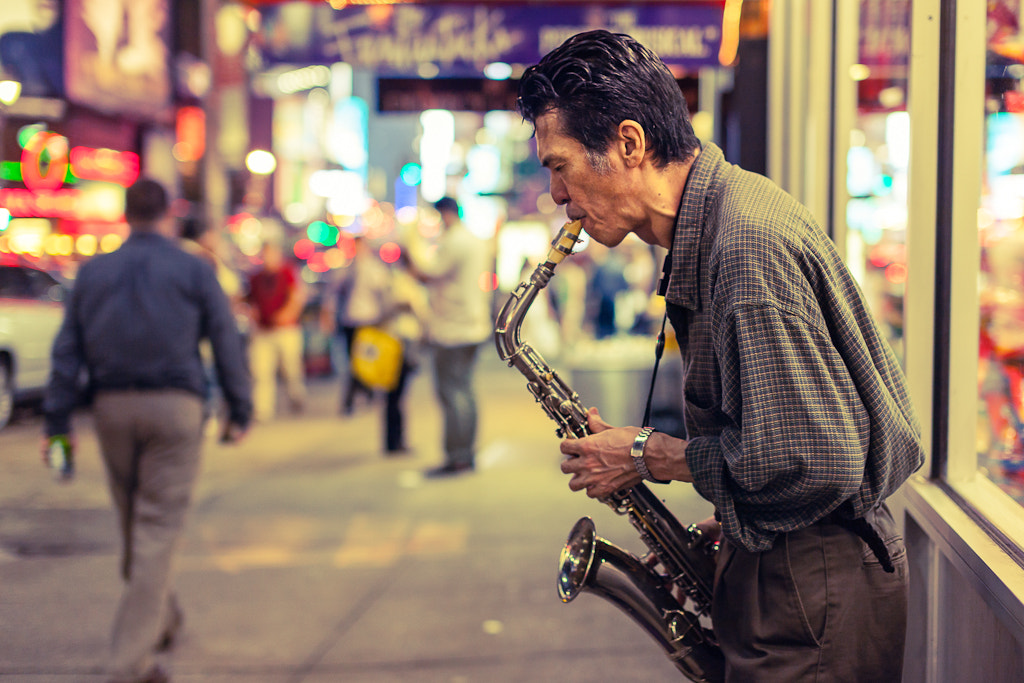 Photograph Times square busker by John Clark on 500px