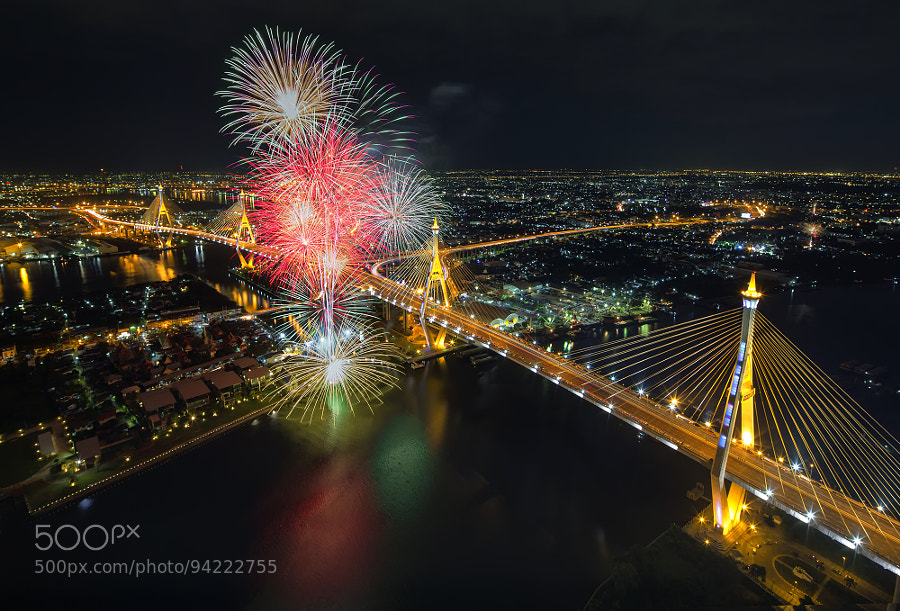 Photograph bhumibol bridge Firework II by Nattapong Pianchalengek on 500px