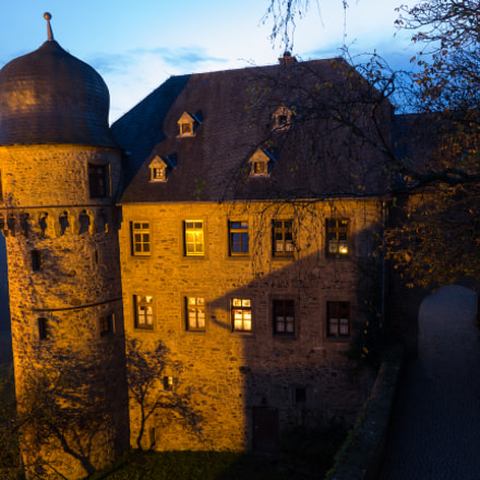 restaurant castle Lichtenberg at twilight