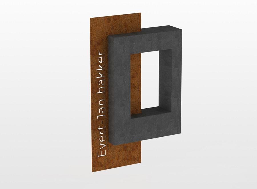 MON Letterplaat Cor ten met hangende steen
