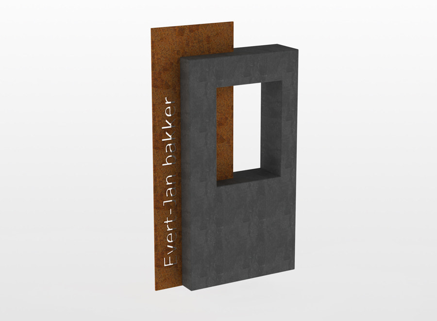 MON Letterplaat met raam en ingeschoven Cor tenplaat