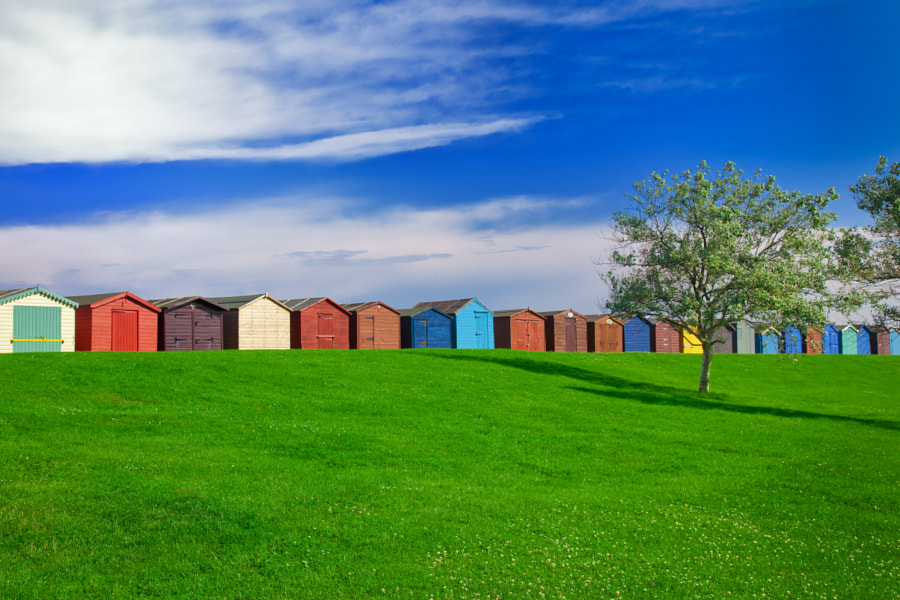 These are the summer beach huts in the beautiful beach town of Harwich< Essex, UK.