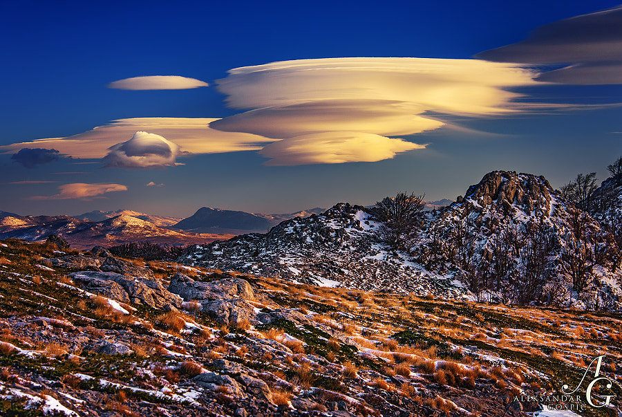 Lenticular clouds, which marked the first day of 2015, float in the sky above the Dinaric Alps and Dalmatia