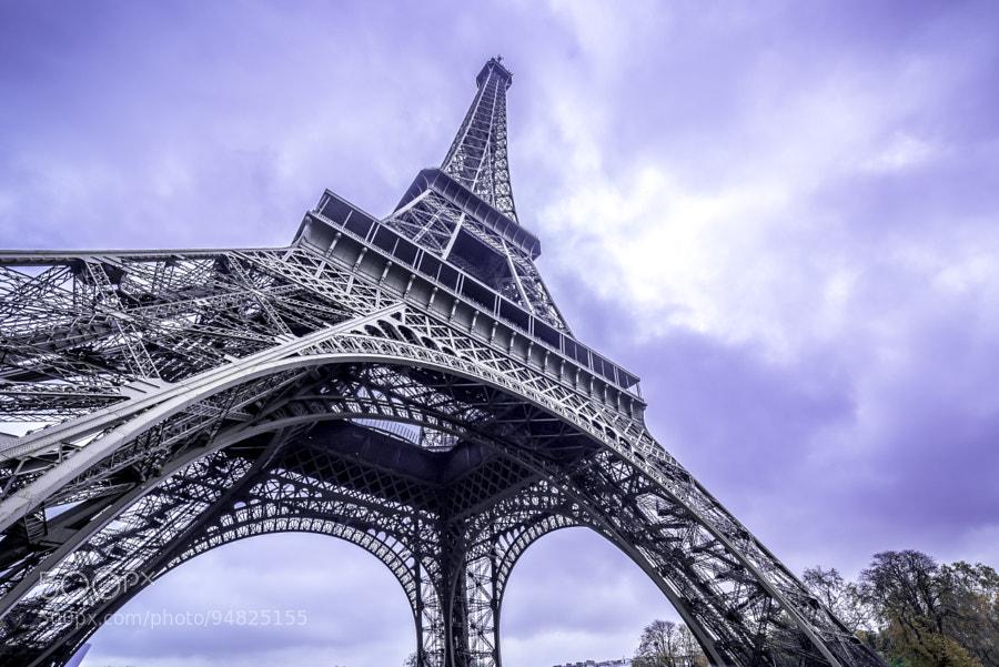 Eiffel tower scenic bottom view purple sky by trigx