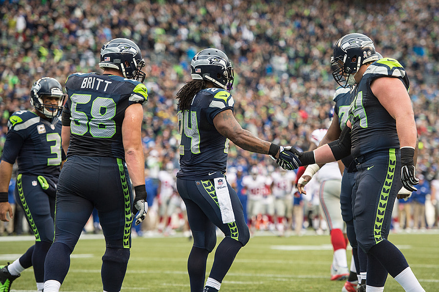 Photograph Post touchdown handshake with Marshawn Lynch by Matt McDonald on 500px