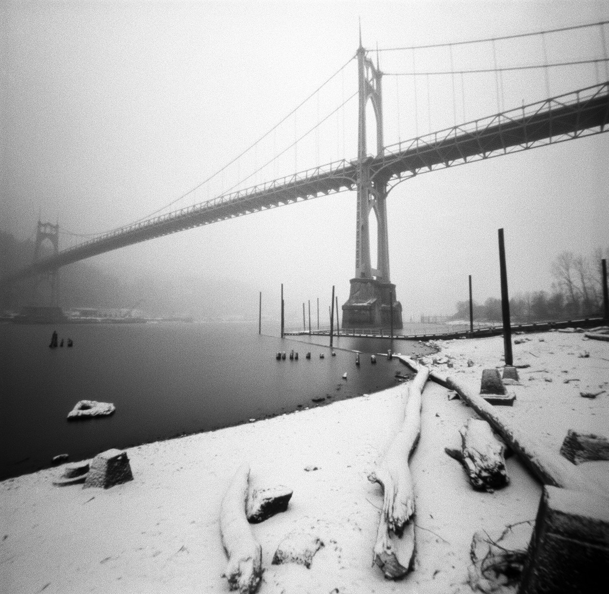 Photograph St. Johns Bridge, snow day by Zeb Andrews on 500px