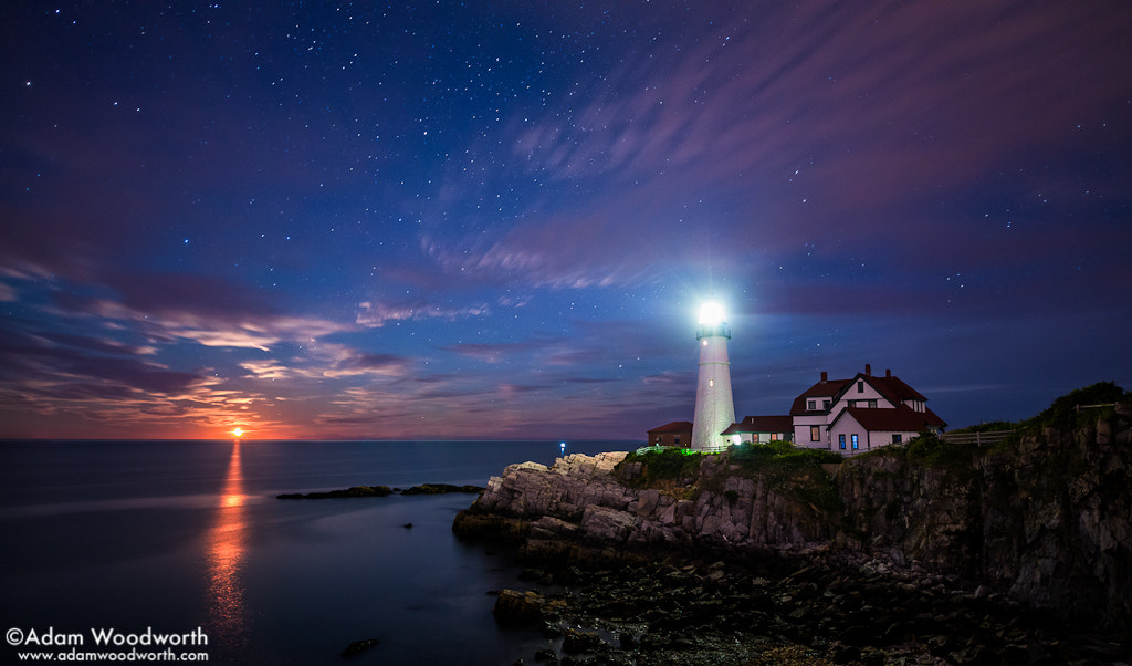 Photograph Moonrise at Portland Head Lighthouse by Adam Woodworth on 500px