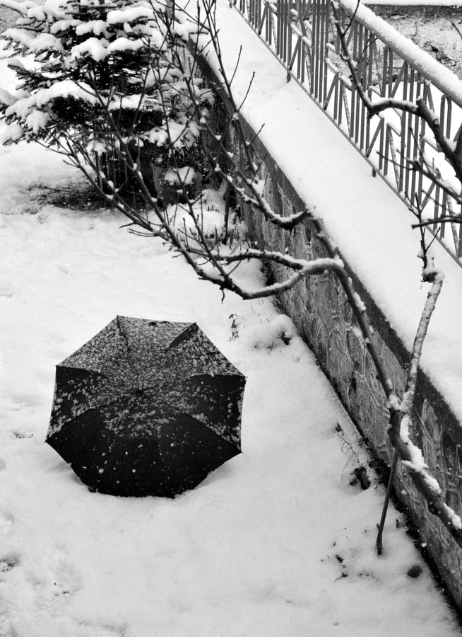 Photograph umbrella and the snow by Papanikolaou Joanna on 500px
