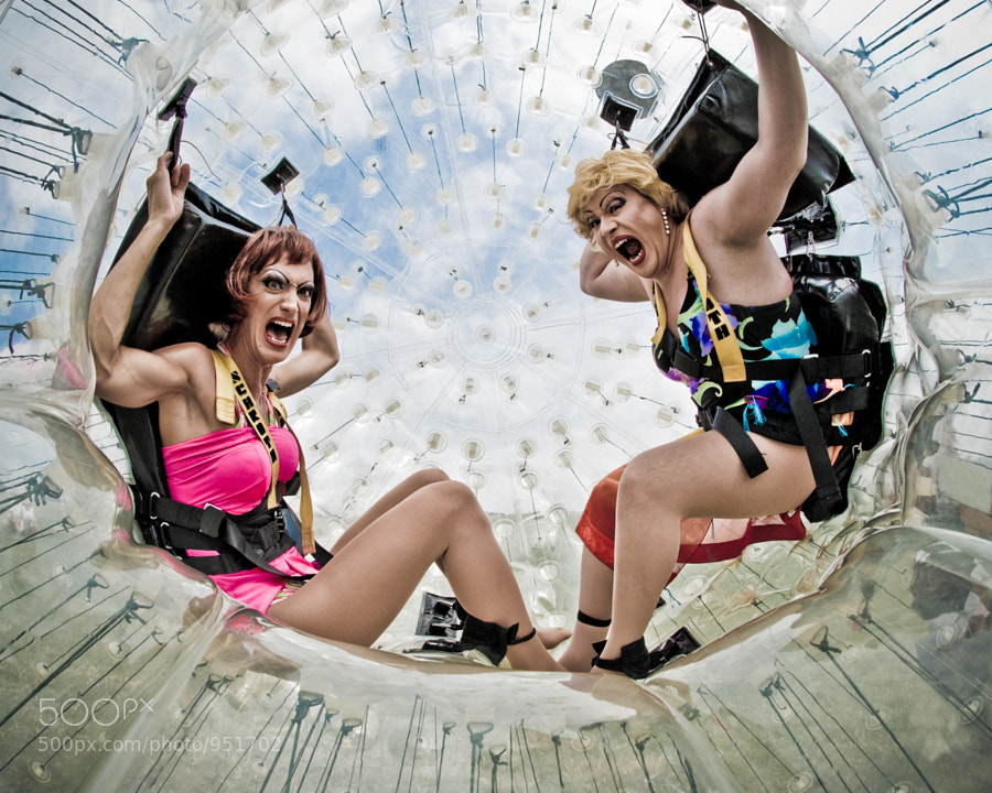 """As part of the festivities for Brighton Pride 2008, local drag queens (Lady James - left - and Sally Vate - right) prepare to """"Zorb"""" down Devil's Dyke."""