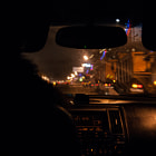 Постер, плакат: the interior of the infiniti fx on the night road