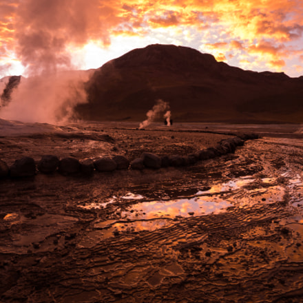 Geysers at the sunrise
