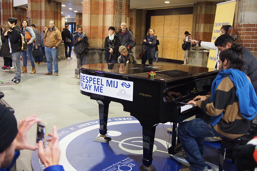 Photograph piano at the Amsterdam Centraal Train Station by parentheticalpilgrim on 500px