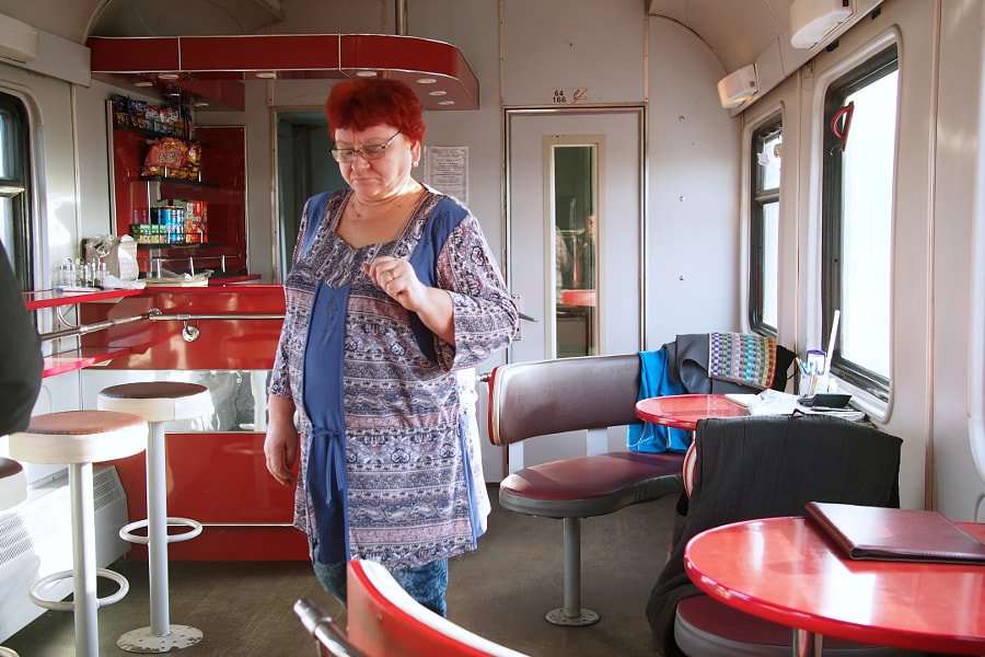 Photograph Restaurant car on Transmongolian Train from Moscow to Ulaanbaatar (Mongolia) by parentheticalpilgrim on 500px