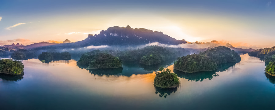 Sunrise at Cheow Lan Lake, Thailand by Kaupo Kalda on 500px
