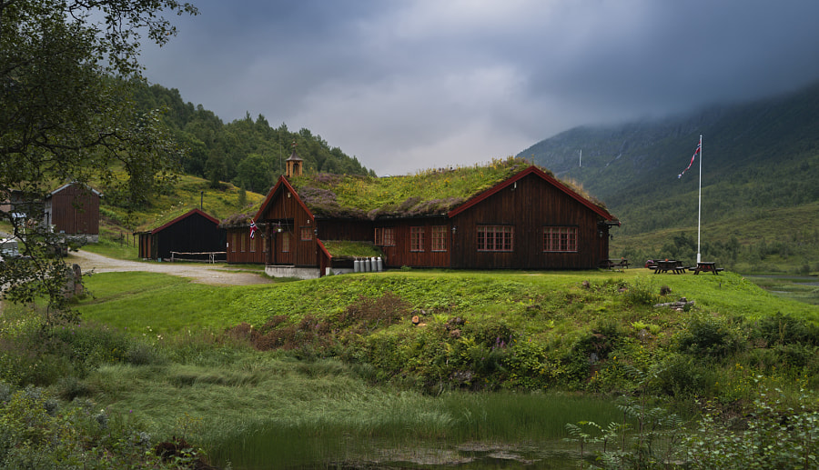 Hostel with grassy roof in Norway by Timofey Lebedev on 500px.com